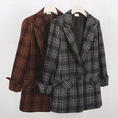 Seoul Fashion - Single-Breasted Plaid Jacket