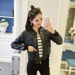 Ashlee - Fleece-lined Biker Jacket