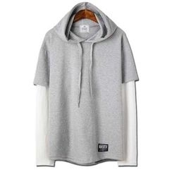 Seoul Homme - Hooded Layered-Sleeve Pullover