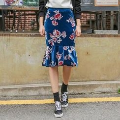 Seoul Fashion - Ruffle-Hem Floral Print Skirt