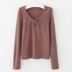 Meimei - Lace Up Front Ribbed Long Sleeve Top