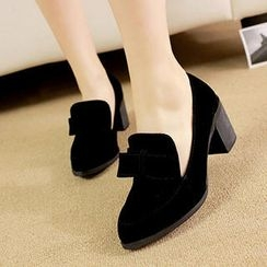 Mancienne - Bow-Accent Chunky-Heel Pumps