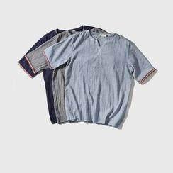 Mrlin - Contrast Trim Short Sleeve Notch Neck T-Shirt