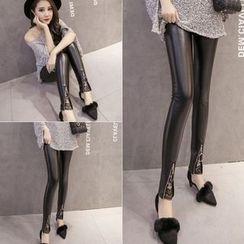 Velero - Lace Trim Front Zip Faux Leather Leggings