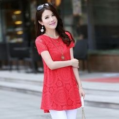 Swish - Short Sleeve Lace Tunic