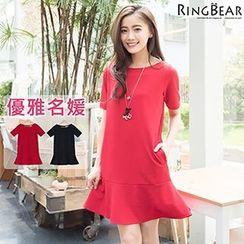 RingBear - Short Sleeve Plain Dress