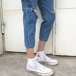 VeryBerry - Ripped Straight Fit Jeans