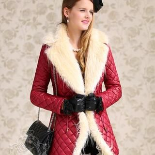 Dabuwawa - Faux-Fur-Collar Drawstring-Waist Coat
