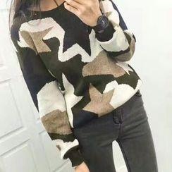 Tulander - Star Print Camo Sweater