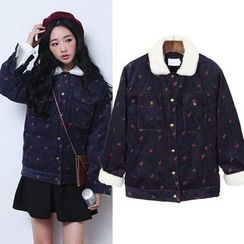 sansweet - Cherry Print Buttoned Corduroy Jacket