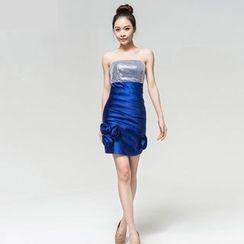 Gracia - Strapless Applique Sheath Party Dress