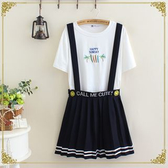 gabrielle - Embroidered Pleated Suspender Skirt