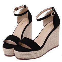 Monde - Ankle Strap Espadrille Wedge Sandals