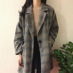 Dasim - Plaid Wool Blend Coat