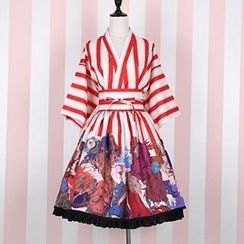 Rega - Set: Print Kimono Jacket + A-Line Skirt