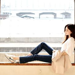 chuu - Fray-Hem Straight-Cut Jeans