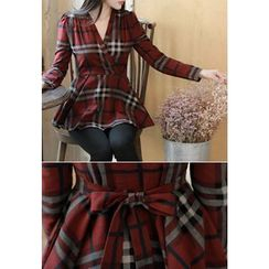MyFiona - Long-Sleeve Checked Peplum Top