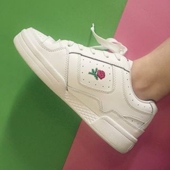 Laceuplux - Rose Embroidered Sneakers