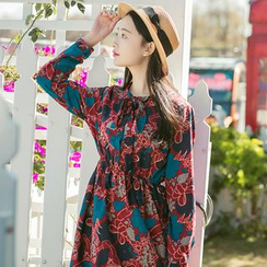 Sens Collection - Floral Print Tie Neck Long Sleeve Dress