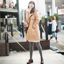 Wind Town - Notched-Lapel Snap-Button Coat