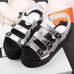 Mancienne - Faux-Leather Velcro Platform Sandals