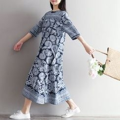 Flore - 3/4-Sleeve Patterned Dress