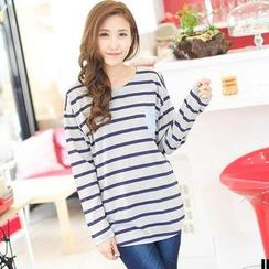 YoungBaby - Long-Sleeve Contrast-Pocket Striped Top