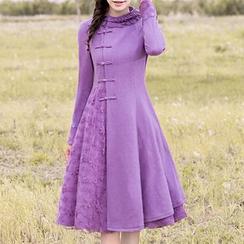 ENKA - Frill Trim Flower Embroidered Mesh Trim Long Sleeve Dress