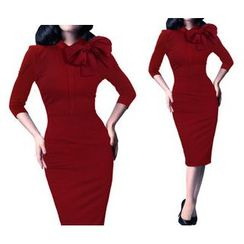 Forest Of Darama - Bow Accent 3/4-Sleeve Sheath Dress