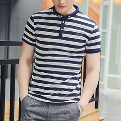 NINETTE - Short-Sleeve Striped Polo Shirt