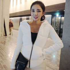 Seoul Fashion - Hooded Padded-Panel Zip-Up Knit Jacket