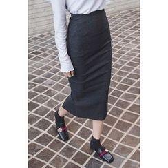 migunstyle - Slit-Side Ribbed Skirt