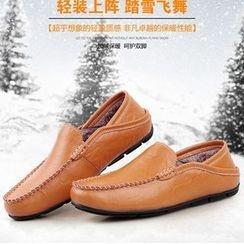 Preppy Boys - 真皮刷毛衬里乐福鞋