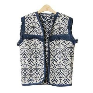 Ho Shop - Fringed Ethnic Pattern Vest