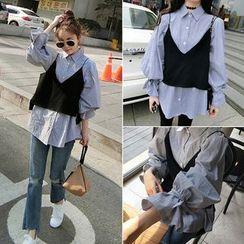 Rocho - 套装: 汽球袖衬衫 + 带式上衣