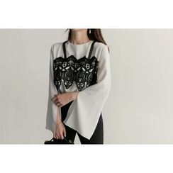 UPTOWNHOLIC - Zip-Back Lace-Panel Top