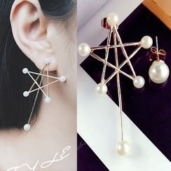 Pop Lop - Faux Pearl Star Non-Matching Earrings