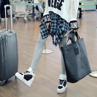 REDOPIN - Inset Plaid Skirt Leggings