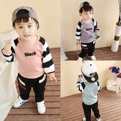POMME - Kids Set: Letter Applique Raglan Sleeve Pullover + Pants