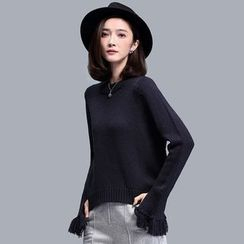 Sentubila - Fringed Bell-Sleeve Sweater