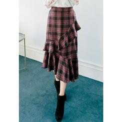 REDOPIN - Ruffleed Check Skirt