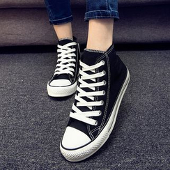 EUNICE - Furry-Lined High-Top Canvas Sneakers