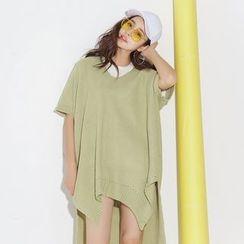 Emeline - 长尾粗织短袖毛衣