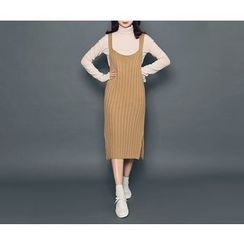 HOTPING - Sleeveless Slit-Side Knit Dress