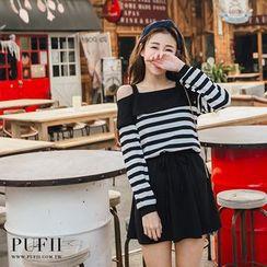 PUFII - 正韓一字領條紋縮腰連身裙