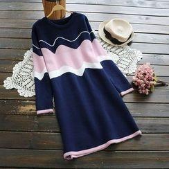 YOYO - 长袖插色针织连衣裙