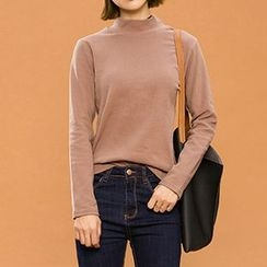 Heynew - Plain Mock-neck Knit Top