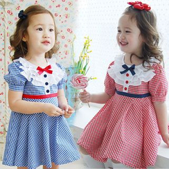 Seashells Kids - Kids Gingham Puff-Sleeve A-Line Dress