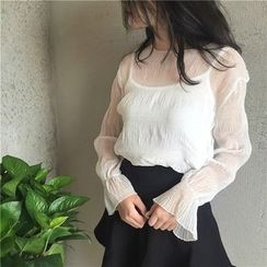 Anlay - Set: Loose-Fit Long-Sleeve Top + Camisole Top