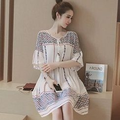 lilygirl - Maternity Patterned Bell-Sleeve A-Line Dress